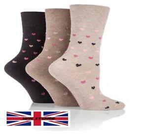 Ladies Socks for Diabetes Brown Hearts (6 Pair) Gentle Grip No Pressure Size 4-8