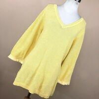 Talbots 2X Sweater Lightweight Light Yellow V Neck Fringe 3/4 Sleeve Womens R1