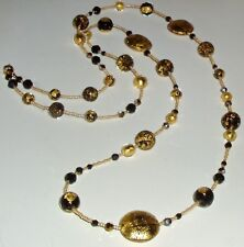 Stunning Black and Gold Murano Glass Bead and Crystal Necklace