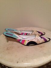 Emilio Pucci 38 High Heels Signed Print Sling Back Pointed Toe Satin Authentic