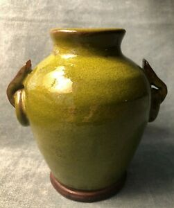 "Pottery Barn Tuscan Glaze Terracotta Urn - Green 7"" Rustic Farmhouse Vase Pot"