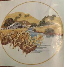 """Summer Wheat Fields"" Sunset Stitchery Crewel Embroidery Kit #2475 - New Sealed"