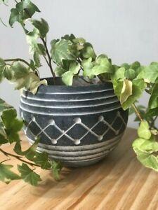 Geometric Aztec Style Black & White Garden Plant Pot Rustic Flower Herb Planter