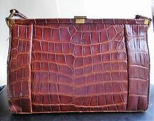 Vintage FASSBENDER crocodile skin leather handbag c 40's - 50's ?