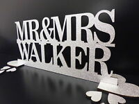 Personalised Mr & Mrs GLITTER Wedding Table Decoration or Gift Sign SILVER  GOLD