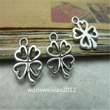 60pc Tibetan Silver Four Leaf Clover Pendant Charms Accessories wholesale JP089