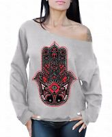Hamsa Hand Off The Shoulder Oversized Slouchy Sweater Sweatshirt