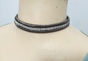 Costume jewellery 3 strand clear diamante & silver tone choker necklace N501