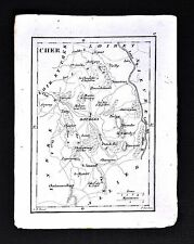 1833 Perrot Tardieu Miniature Map - Cher - Bourges St. Amand Sancerre - France