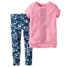 NWT Carter's Newborn Baby Girl  Pink Short-Sleeve Lace Top & Leggings Set