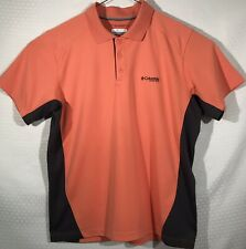 MEN'S COLUMBIA PFG Omni-Shade POLO Shirt Size L Short Sleeves Poly Salmon Gray