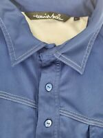 Travis Mathew Mens Blue Embroidered Short Sleeve Polo Golf Shirt Size Large