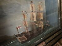 Antique Rare Mid 1800s Carved & Painted Ship Diorama St. George Flag Ship Nelson