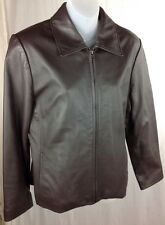 Worthington Lambskin Jacket Brown Fully Lined Coat Petite Womens S PS Butter Sft