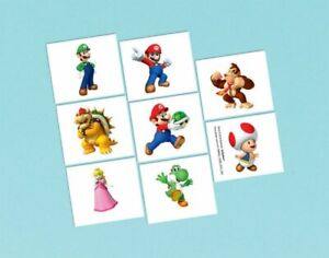 Super Mario Party Tattoo's 8pk - Super Mario Party Supplies Party Favour
