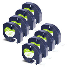 New Listing8pk Black On White Label Tape Paper Refills For Dymo Letratag 100t 91330 12mm