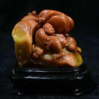 Chinois Pierre Shoushan Sculpture Dharma Luohan Bouddha Shanzi Sceau Sceau