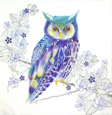 Bulk-0,79 $ /pc! 3 x Single Paper Napkins For Decoupage Purple Blue Owl M281