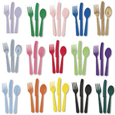 BIRTHDAY PARTY PLASTIC CUTLERY  - 18 PIECES -MANY COLOURS!