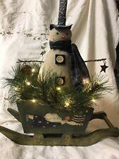 Snowman primitive, with lights new handmade