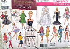 2 Sewing Patterns~Fashion Doll Retro Gown Coat Clothes Bridal+++UC/FF~5785+4719