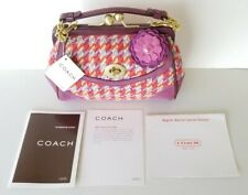 Rare Coach Limited Edition Houndstooth Kisslock Tweed/Suede Bag 8F45 (New) $268