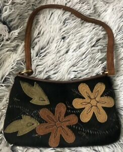 Preston & York Cowhide Calf Hair Mini Purse Vintage Retro Floral Womens Girls