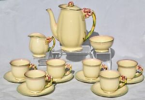 Vtg Royal Winton TIGER LILY Coffee Set Complete for 6 - Coffee Pot, Duos, Sugar,
