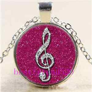 Rose Diamond musical note Cabochon Glass Tibet Silver Chain Pendant Necklace