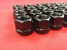 20 X OPEN END BULGE ACORN WHEEL LUG NUTS 12X1.25 BLACK GLOSSY FINISH