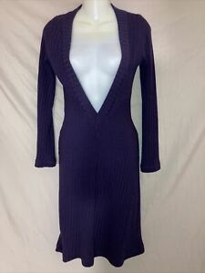 Size Small Double zero Purple Sweater Dress Deep V-Neck Excellent Used Condition