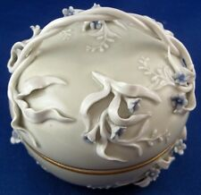 Rare KPM Berlin Porcelain Art Nouveau Celadon Raised Flowers Box Porzellan Dose