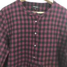 Madewell Women's Top Size L Red Burgundy Black Flannel Gingham Popover Checkered