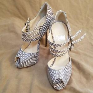 Auth Christian Louboutin Heel Strap Pumps Sandals Snake Size EUR 35 Used Japan