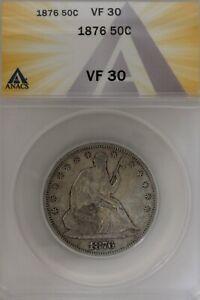 1876  .50   ANACS   VF 30  1800's Half Dollar, Liberty Seated Half
