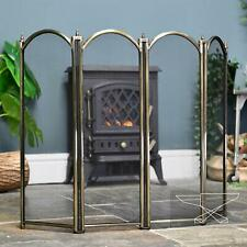 New Antique Brass Four Fold Traditoinal Fire Guard - 640mm