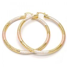 WomenLarge Real Gold Plated Round Hoop Earrings 3 tone,Big tri color 70mm