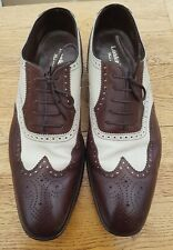 Loake sloane two tone brogue formal shoes cream brown size 12