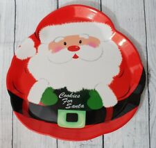 """""""Cookies for Santa"""" Platter Holiday Winter Christmas 14"""" Plastic Serving Tray"""
