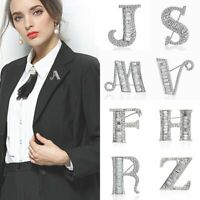 Fashion 12 Letters Full Crystal Brooch Pins Women Wedding Costume Jewelry Gifts