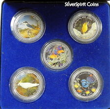 BIRDS OF AUSTRALIA FIVE MEDALLION Coloured Silver Set Minted by Perth Mint
