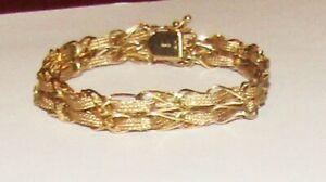 """Beautiful 14K Gold Fancy Bracelet 7 1/4"""", Signed R 14K 12 Grams"""