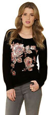 MONSOON Piper Sequin Flower Black Jumper with Angora BNWT