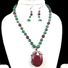 Natural Emerald Ruby Designer Necklace Huge 925 Silver Ruby Pendant & Clasp