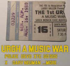 Urgh! A Music War Ticket Stub Santa Monica Civic 1980 Devo Xtc Gary Numan Police