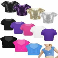 Girls Short Sleeves Ballet Dance Crop Tops Kids Sports T Shirt Casual Daily Wear