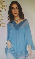 Sofia Denim Blue Loose Fitting Top W/Crochet Detail By 2 Chic Luxe. Nwt