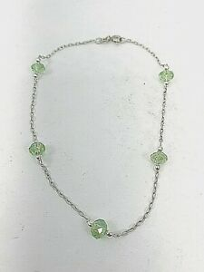 "Sterling Silver .925 Silver Green Yellow Crystal 9"" - 9.5"" Anklet Ankle Bracelet"