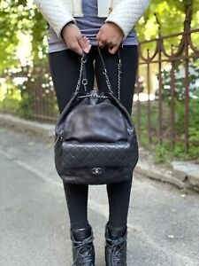 CHANEL Matelasse Black Quilted Leather Drawstring Backpack