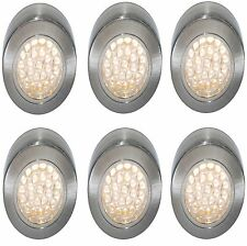 6 X LED 12 VOLT SURFACE LIGHT CARAVAN BOAT MOTORHOME BRUSHED CHROME WARM WHITE